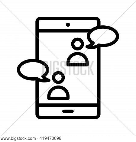Video Call Flat Line Icon. Vector Outline Illustration Of Online Meeting Icons, Work Form Home, Soci
