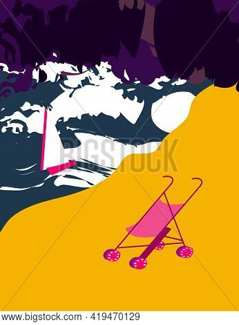 Illustration Of A Stroller Abandoned On The Beach On A Stormy Night And A Boat