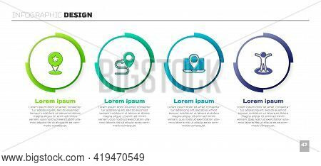 Set Map Pointer With Star, Route Location, Laptop Marker And Location Person. Business Infographic T