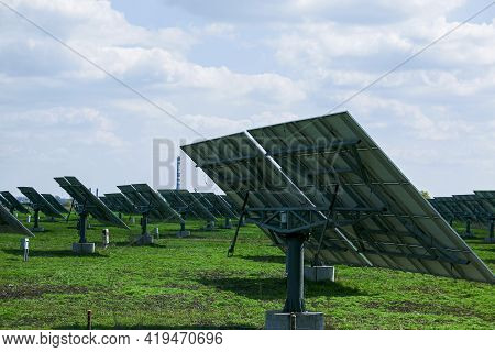 Solar cells, or solar module, or solar panels in a solar power plant. Batteries absorb sunlight from