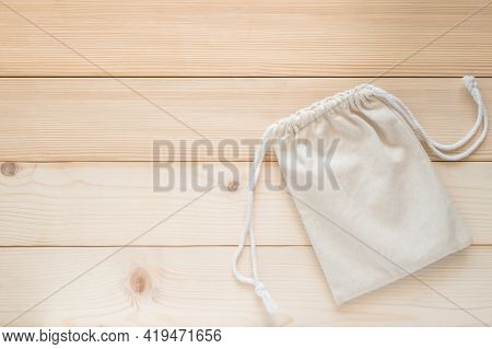 Drawstring Tote Bag Mockup, Small Eco Sack With String Made From Natural Cotton Fabric Canvas Burlap