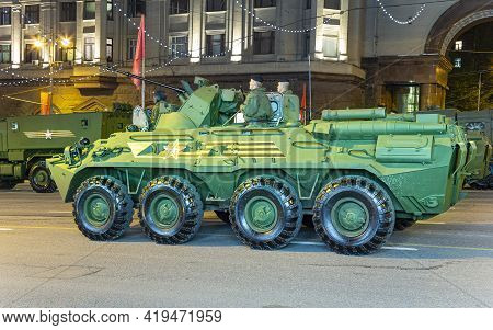 Russian Weapons. Rehearsal Of Military Parade (at Night) Near The Kremlin, Moscow, Russia. Celebrati