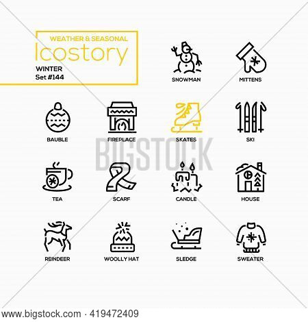 Winter - Modern Line Design Style Icons Set