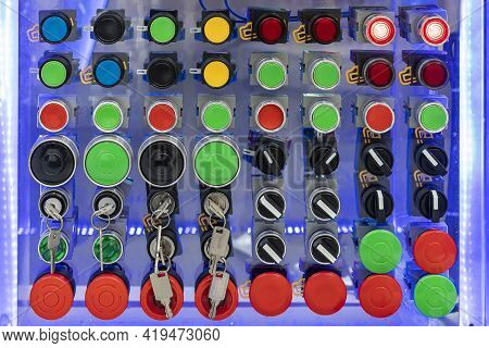 Various Shape And Colorful Push Button Such As Dial Switch Key Emergency Pilot Lamp Etc Of Electric