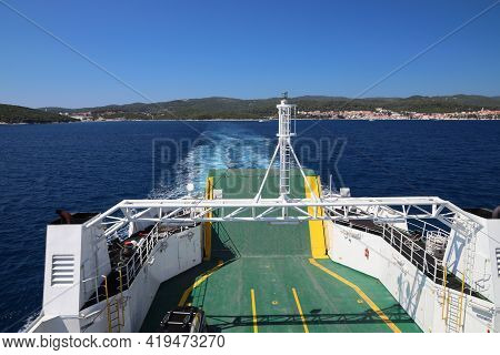Croatia Island Ferry Connection. Town Of Orebic And Peljesac Peninsula Seen From Ferry Ship.
