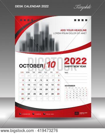 Desk Calendar 2022 Template, October Month Design, Wall Calendar Design, Calendar 2022 Template Mode