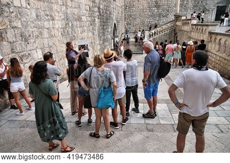 Dubrovnik, Croatia - July 26, 2019: Tourists Take Part In Game Of Thrones City Tour Of Dubrovnik, Cr