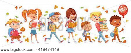 School Time. Children Go To School. Seamless Panorama. Funny Cartoon Character. Vector Illustration.