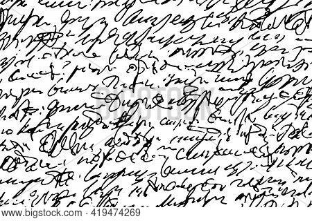 Grunge Texture Of Unreadable Handwritten Text. Monochrome Background Of Careless Illegible Handwriti