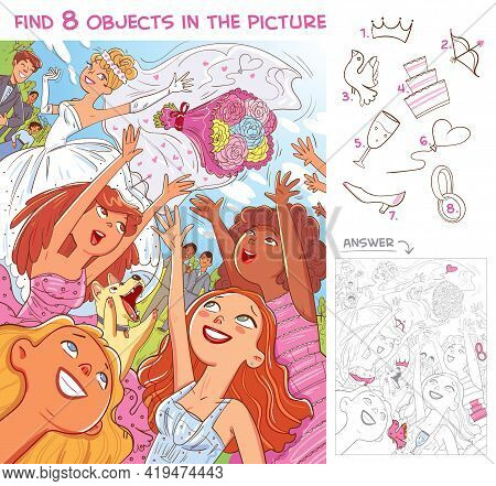 Find 8 Objects In The Picture. Puzzle Hidden Items. Bridesmaids Catch A Bride Bouquet At A Wedding.