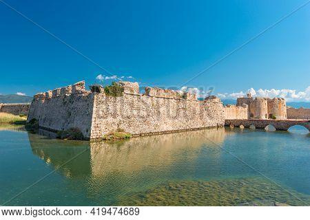 Scenic View Of Venecian Fortress Rio Castle In Greece, Near Rio-antirio Bridge Crossing Corinth Gulf