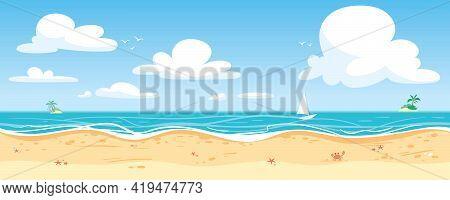 Seamless Sea Panorama. Vector Illustration. Beautiful Beach Banner