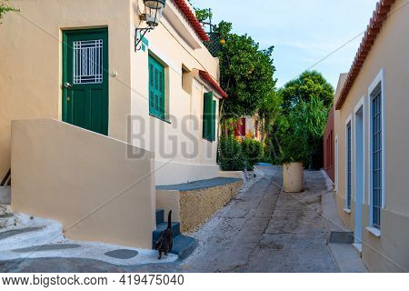 Old Narrow Street In Anafiotika, Plaka District, Athens, Greece.
