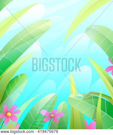 Summer Or Spring Nature Frame Background With Leaves Grass And Flowers Over The Blue Sky. Green Spri