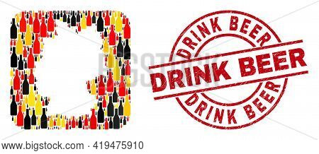 German Map Collage In German Flag Official Colors - Red, Yellow, Black, And Unclean Drink Beer Red C