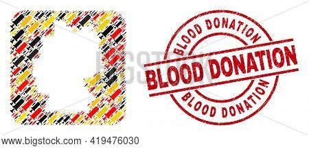 German Map Mosaic In German Flag Official Colors - Red, Yellow, Black, And Dirty Blood Donation Red