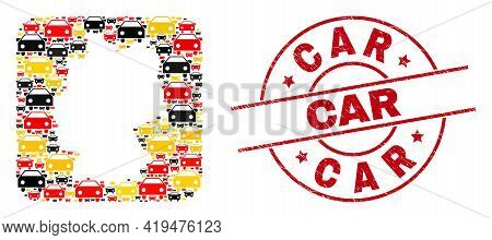 German Map Collage In German Flag Official Colors - Red, Yellow, Black, And Rubber Car Red Circle St