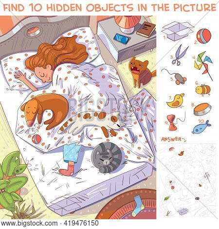 Find 10 Hidden Objects In The Picture. Morning. Girl Sleeping With Their Pets In Bed. Puzzle Hidden