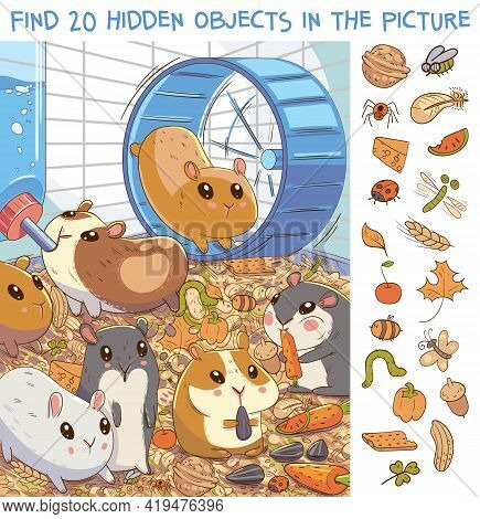 Find 20 Hidden Objects In The Picture. Hamsters In A Cage. Puzzle Hidden Items. Funny Cartoon Charac
