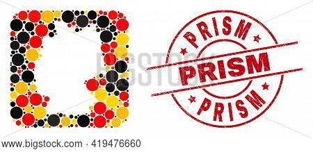 German Map Mosaic In German Flag Official Colors - Red, Yellow, Black, And Rubber Prism Red Circle S