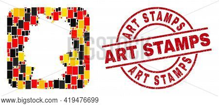 German Geographic Map Collage In German Flag Official Colors - Red, Yellow, Black, And Art Stamps Re