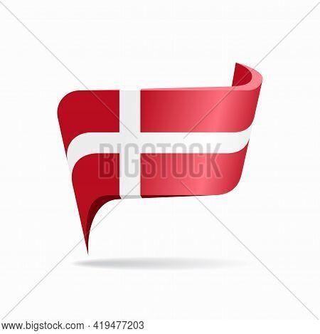 Danish Flag Map Pointer Layout. Vector Illustration.
