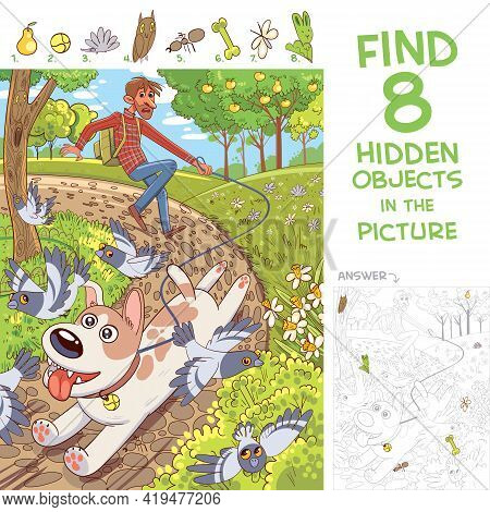 Dog Pulls Leash With Its Owner. Walk In The Park. Find 8 Hidden Objects In The Picture. Puzzle Hidde