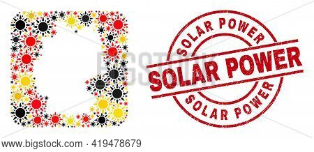 German State Map Mosaic In Germany Flag Official Colors - Red, Yellow, Black, And Grunge Solar Power