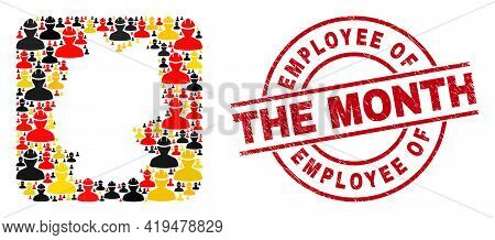 Germany Map Collage In Germany Flag Official Colors - Red, Yellow, Black, And Textured Employee Of T