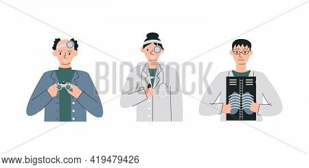 Medical Personnel Staff Team Isolated On White. Ophthalmologist Holds Eye Check Special Equipment. O