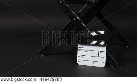 Small White Clap Board Or Movie Slate And Director Chair. It Is Use In Video Production , Movie ,fil