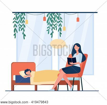 Mother Reading Bedtime Story To Child. Cartoon Woman Sitting In Chair With Book, Kid Lying In Bed Fl
