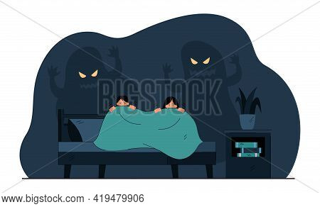 Cartoon Little Children Afraid Of Ghosts In Darkness. Flat Vector Illustration. Kids Trembling And H