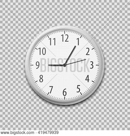 Realistic Simple Round Wall Office Clock. Vector Illustration.