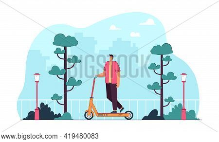 Young Man Riding Scooter In Modern City. Flat Vector Illustration. Happy Male Cartoon Character Ridi