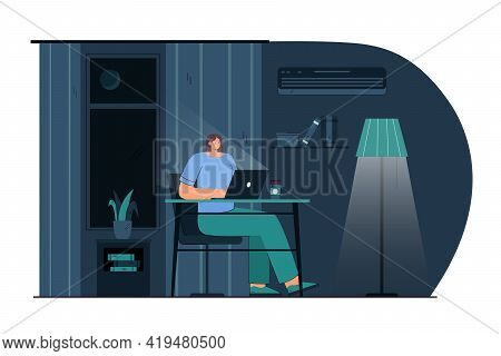 Cartoon Young Woman Working On Laptop At Night. Flat Vector Illustration. Smiling Female Character S