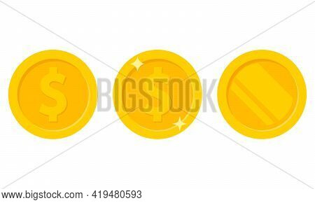 Set Of Coins Icon Isolated On White Background. Vector Illustration.