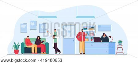 People Sitting In Waiting Room Of Medical Clinic. Flat Vector Illustration. Patients Sitting On Couc