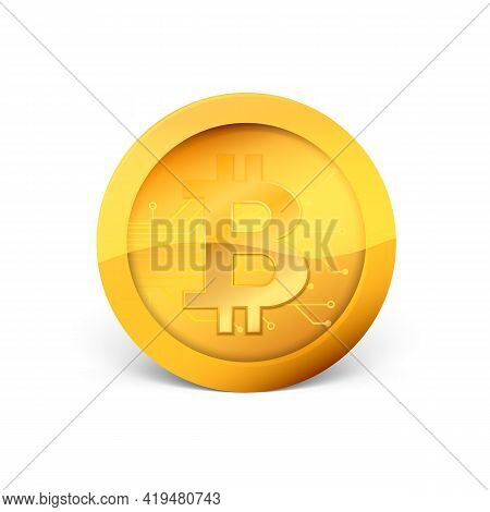 Golden Crypto Currency Bitcoin. Physical Bit Coin. Vector Illustration.