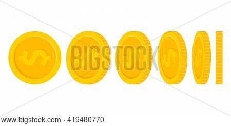 Set Of Rotating Gold Coins With Dollar Currency Sign Isolated On White Background. Vector Illustrati