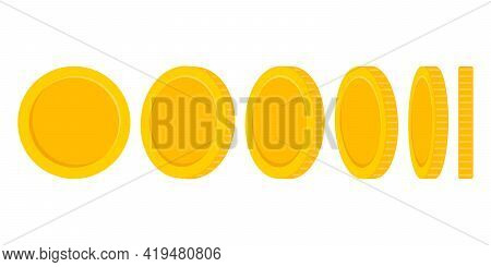 Set Of Rotating Gold Coins Isolated On White Background. Vector Illustration.