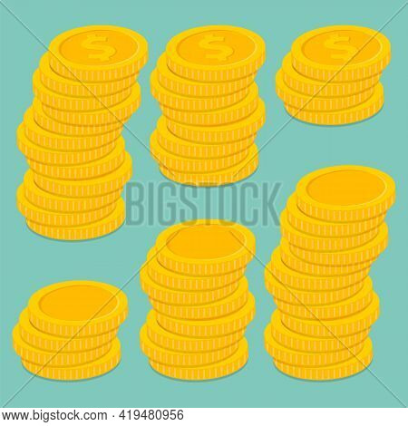 Stack Of Coins. Pile Of Gold Coins. Golden Penny Cash Pile, Treasure Heap. Vector Illustration.