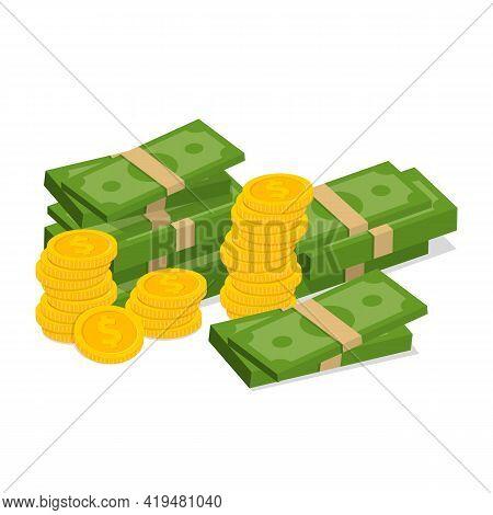 Concept Of Big Money. Big Pile Of Cash. Hundreds Of Dollars. Vector Illustration.