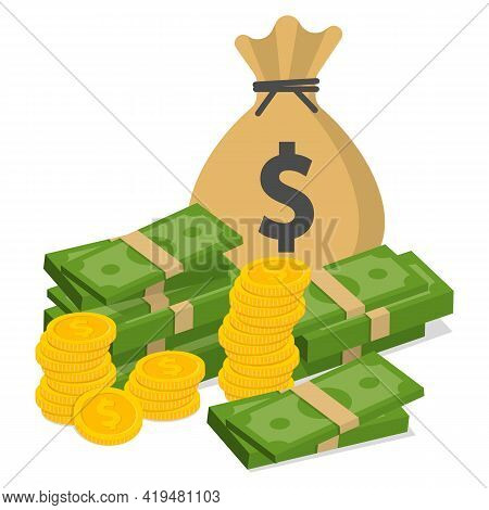 Pile Of Money And A Bag Of Coins. Wealth Concept Vector Illustration.