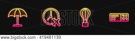 Set Line Hot Air Balloon, Sun Protective Umbrella, Clock With Airplane And Airline Ticket. Glowing N