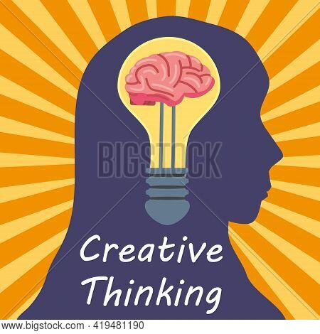 Light Bulb Creative Thinking Logo Symbol Brain Inside. Head Woman, Creative Idea, Mind, Solution, Cr