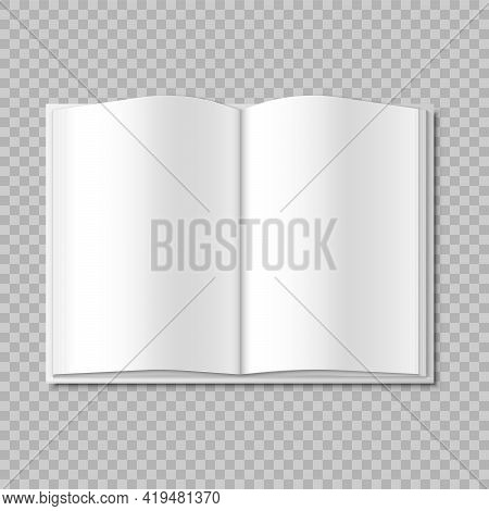 Mockup Blank Open Magazine, Book, Booklet, Brochure, Cover. Vector Illustration.