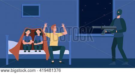 Burglar With Gun Threatening Family. Cartoon Criminal With Weapon, Father Raising Hands, Children Hi