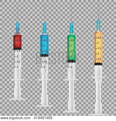 Set Of Realistic Medical Disposable Syringe With Needle. Applicable For Vaccine Injection, Vaccinati