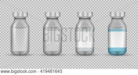 Set Of Transparent Glass Medical Vials. Vector Illustration.